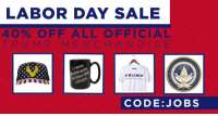 In honor of hard-working Americans like YOU, we're doing 40% off ALL merchandise. Use code JOBS→ https://goo.gl/NE8V2y: LABOR DAY SALE  40% OFF ALL OFFICIAL  T RUMP MERCHANDIS E  TRUMP  PRES  CODE:JOBS In honor of hard-working Americans like YOU, we're doing 40% off ALL merchandise. Use code JOBS→ https://goo.gl/NE8V2y