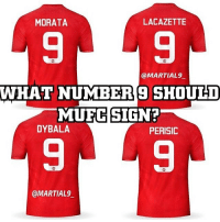 Adidas, Football, and Goals: LACAZETTE  MORATA  @MARTIAL 9  WHAT NUMBER SHOULD  MUFC SIGN?  DYBALA  PERISIC  @MARTIAL Like the comments I made Below and let's see who is most wanted for United! ❤️🔥👹 . . . . . . . . manutd mufc manchesterunited degea united neymar footy football soccer rooney sfs s4s like selfie followback followme followforfollow likeforlike goals zlatan pogba mata cr7 nike adidas messi ibrahimovic Ronaldo lol