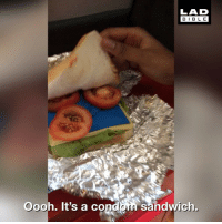 Condom, Memes, and Girl: LAD  BIBL E  Oooh. It's a condom Sandwich This girl bombarded her mate with a bunch of condoms. She'll never forget one again 😂 👏🏽