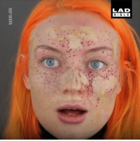 Dank, Girl, and 🤖: LAD  BIBL E This girl tried giving herself semi-permanent freckles and it did NOT go well... 🙈