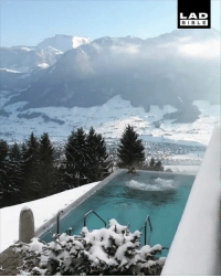 Dank, Heaven, and Swiss: LAD  BIBL E This hot Jacuzzi in the Swiss mountains looks like absolute heaven 😍⛰️