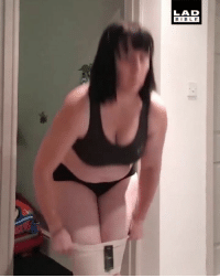 Memes, Brilliant, and 🤖: LAD  BIBL E This woman's reactions at trying to get into spanx are brilliant 😂😂 @kneedeepinlifeblog