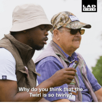 This roadman pondering life with a 70-year-old man is hilarious 😂🎣: LAD  BIBL E  Why do you think that the  Twirl is so twirly? This roadman pondering life with a 70-year-old man is hilarious 😂🎣