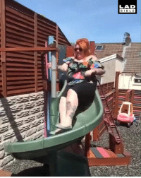 Dank, Old, and Never: LAD  BIBL E You're never too old for a slide 😂😂