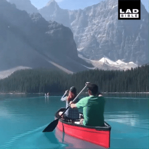 Canoeing on Moraine Lake, Canada has the most memorable views... 😍😍: LAD  BIBLE Canoeing on Moraine Lake, Canada has the most memorable views... 😍😍