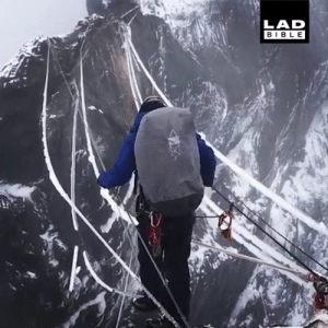 Climbing a rope ladder to the summit of Mount Carstensz, Indonesia. That's a no from me 😳😰: LAD  BIBLE Climbing a rope ladder to the summit of Mount Carstensz, Indonesia. That's a no from me 😳😰