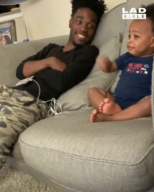 Dad, Dank, and Bible: LAD  BIBLE  G CHIEF Despite not being able to speak properly, this baby still managed to have a full blown conversation with his dad 😄😂