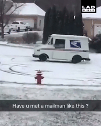 This mailman doesn't mind working on snow days 😂❄️: LAD  BIBLE  Have u met a mailman like this? This mailman doesn't mind working on snow days 😂❄️