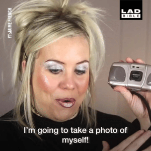 Dank, Bible, and Girl: LAD  BIBLE  I'm going to take a photo of  myself! This girl absolutely nails the 90s style. As if people used to look like this! 😂  Jaime French