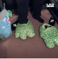 Dank, Monster, and Bible: LAD  BIBLE  N:  MI This girlfriend turned her boyfriend's smelly old trainers into monster feet... 😂  ReuBekah Vidz