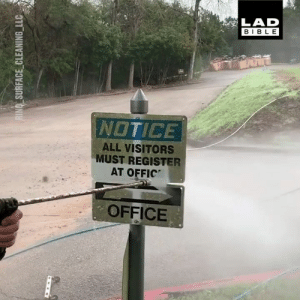 Dank, Bible, and Office: LAD  BIBLE  NOTICE  ALL VISITORS  MUST REGISTER  AT OFFIC  OFFICE Power washing is so satisfying to watch 😍💆  Relaxing Stuff