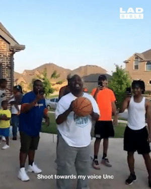 This blind man hit a free throw in his first attempt and his family's reaction was priceless 🙌: LAD  BIBLE  Shoot towards my voice Unc This blind man hit a free throw in his first attempt and his family's reaction was priceless 🙌