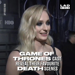 The Game of Thrones cast gathered for the premiere of the final season last night and revealed their favourite deaths from the series ❄️🔥🐉  Game of Thrones: Westeros Posting: LAD  BIBLE  T HBO  GAME OF  THRONES CAST  REVEAL THEIR FAVOURITE  DEATHISCENES The Game of Thrones cast gathered for the premiere of the final season last night and revealed their favourite deaths from the series ❄️🔥🐉  Game of Thrones: Westeros Posting
