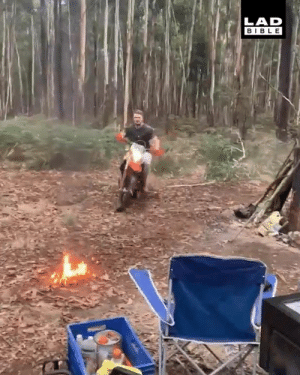 Dank, Bible, and 🤖: LAD  BIBLE This has to be the coolest way to start your campfire 🔥🏍