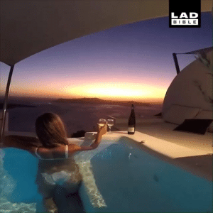 Watching the sunset from this pool suite in Santorini is definitely one for the bucket list 😍🇬🇷: LAD  BIBLE Watching the sunset from this pool suite in Santorini is definitely one for the bucket list 😍🇬🇷