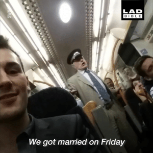 This guy kept the train fully entertained on their journey home, leading a whole-carriage singalong... 😂👏  Get your sound up for this 🔊: LAD  BIBLE  We got married on Friday This guy kept the train fully entertained on their journey home, leading a whole-carriage singalong... 😂👏  Get your sound up for this 🔊