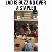 Memes, Bible, and 🤖: LAD IS BUZZING OVER  A STAPLER  LAD  BIBLE 'What!? Oh my goodness, a stapler!' 😱😂