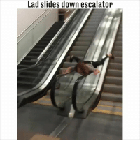 Now this exit is smooth AF... 😎: Lad slides down escalator Now this exit is smooth AF... 😎