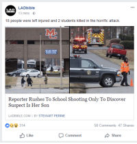 Anaconda, Anime, and School: LADbible  13 mins .  LAD  18 people were left injured and 2 students killed in the horrific attack.  M.  100  Reporter Rushes To School Shooting Only To Discover  To  Suspect Is Her Son  LADBIBLE.COM I BY STEWART PERRIE  8314  58 Comments 47 Shares  Like  Comment  Share <p>Top 10 Anime Plot Twists</p>
