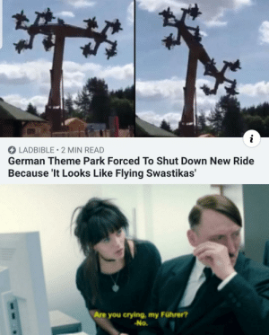 shut down: LADBIBLE 2 MIN READ  German Theme Park Forced To Shut Down New Ride  Because 'It Looks Like Flying Swastikas'  Are you crying, my Führer?  -No.