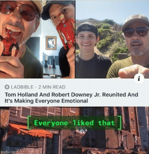 Robert Downey Jr., Good, and Robert Downey Jr: LADBIBLE 2 MIN READ  Tom Holland And Robert Downey Jr. Reunited And  It's Making Everyone Emotional  Everyone 1iked that  imgflip.com Good people