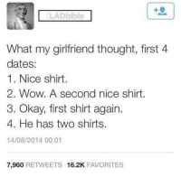 Memes, Wow, and Okay: LADbible  What my girlfriend thought, first 4  dates:  1. Nice shirt  2. Wow. A second nice shirt  3. Okay, first shirt again.  4. He has two shirts  14/08/2014 00:01  7,960 RETWEETS 16.2K FAVORITES And only one pair of jeans via /r/memes https://ift.tt/2xIlSaY