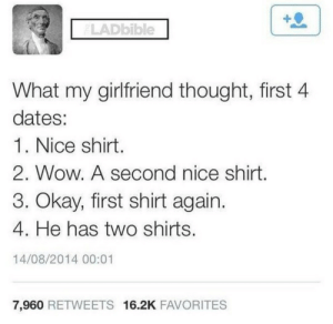 Dank, Memes, and Target: LADbible  What my girlfriend thought, first 4  dates:  1. Nice shirt  2. Wow. A second nice shirt  3. Okay, first shirt again.  4. He has two shirts  14/08/2014 00:01  7,960 RETWEETS 16.2K FAVORITES And only one pair of jeans by Mciscool200 MORE MEMES