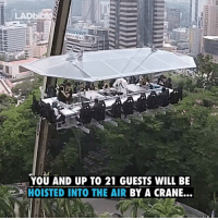 Dank, 🤖, and Air: LADbibte  YOU AND UP TO 21 GUESTS WILL BE  HOISTED INTO THE AIR  BY A CRANE...