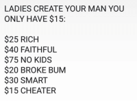 Memes, Kids, and 🤖: LADIES CREATE YOUR MAN YOU  ONLY HAVE $15:  $25 RICH  $40 FAITHFUL  $75 NO KIDS  $20 BROKE BUM  $30 SMART  $15 CHEATER 🤔
