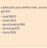 I think i'm going to buy a few candy bars instead: Ladies pick your perfect man, you've  got $10  loyal $800  smart $53  good looking $68  annoying $10  funny $39 I think i'm going to buy a few candy bars instead