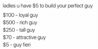 Anaconda, Guy Fieri, and Wyd: ladies u have $5 to build your perfect guy  $100 loyal guy  $500 rich guy  $250-tall guy  $70 attractive guy  $5 guy fieri Wyd