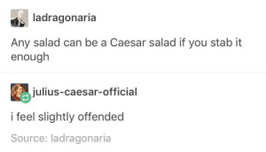 Julius Caesar, Source, and Can: ladragonaria  Any salad can be a Caesar salad if you stab it  enough  julius-caesar-official  i feel slightly offended  Source: ladragonaria Caesar salad