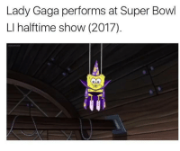<p>Lady Gaga for her second Super Bowl appearance, 2017</p>: Lady Gaga performs at Super Bowl  LI halftime show (2017)  ให้ <p>Lady Gaga for her second Super Bowl appearance, 2017</p>