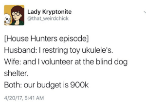 Budget, House, and Husband: Lady Kryptonite  @that_weirdchick  [House Hunters episode]  Husband: I restring toy ukulele's  Wife: and I volunteer at the blind dog  shelter.  Both: our budget is 900k  4/20/17, 5:41 AM