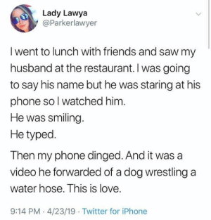 Dank, Friends, and Iphone: Lady Lawya  @Parkerlawyer  I went to lunch with friends and saw my  husband at the restaurant. I was going  to say his name but he was staring at his  phone sol watched him  He was smiling  He typed.  Then my phone dinged. And it was a  video he forwarded of a dog wrestling a  water hose. This is love.  9:14 PM 4/23/19 Twitter for iPhone