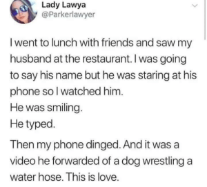 Friends, Love, and Phone: Lady Lawya  @Parkerlawyer  I went to lunch with friends and saw my  husband at the restaurant. I was going  to say his name but he was staring at his  phone sol watched him  He was smiling.  He typed.  Then my phone dinged.And it was a  video he forwarded of a dog wrestling a  water hose. This is love. Hes a keeper!