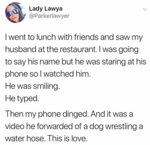 Friends, Love, and Phone: Lady Lawya  @Parkerlawyer  I went to lunch with friends and saw my  husband at the restaurant. Iwas going  to say his name but he was staring at his  phone so I watched him.  He was smiling  He typed  Then my phone dinged. And it was a  video he forwarded of a dog wrestling  a  water hose. This is love. Nice husband via /r/wholesomememes https://ift.tt/2TnLvqW
