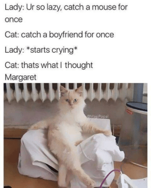 Why i love cats (i.redd.it): Lady: Ur so lazy, catch a mouse for  once  Cat: catch a boyfriend for once  Lady: *starts crying*  Cat: thats what I thought  Margaret  @MasiPopal Why i love cats (i.redd.it)