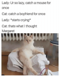 Okay but why is :,) not an emoji: Lady: Ur so lazy, catch a mouse for  OnCe  Cat: catch a boyfriend for once  Lady: *starts crying*  Cat: thats what I thought  Margaret  Masi Popal Okay but why is :,) not an emoji