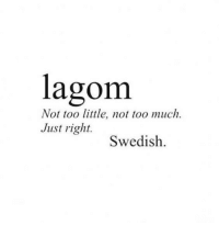 Too Much, Swedish, and Right: lagom  Not too little, not too much.  Just right.  Swedish.