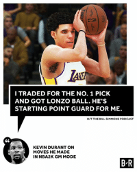 KD would've taken Lonzo.: LAK  I TRADED FOR THE NO. 1 PICK  AND GOT LONZO BALL. HE'S  STARTING POINT GUARD FOR ME.  H/T THE BILL SIMMONS PODCAST  KEVIN DURANT ON  MOVES HE MADE  IN NBA2K GM MODE  B R KD would've taken Lonzo.