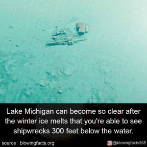 Memes, Winter, and Michigan: Lake Michigan can become so clear after  the winter ice melts that you're able to see  shipwrecks 300 feet below the water.  source blowingfacts.org  О@blowingfacts365