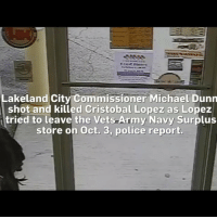 Police in Florida released a video Monday that showed a city councilman shooting and killing a man he said was shoplifting from the military surplus story he owns. NBC affiliate WFLA 8 obtained the video from Lakeland, Fla. police on Monday that shows Lakeland City Commission member Michael Dunn shooting 50-year-old Christobal Lopez as Lopez leaves the store. Lopez, Dunn alleges, was attempting to steal a hatchet from his store. No charges have been filed against Dunn: Lakeland City Commissioner Michael Dunn  shot and killed Cristobal Lopez as Lopez  tried to leave the Vets Army Navy Surplus  store on Oct. 3, police report. Police in Florida released a video Monday that showed a city councilman shooting and killing a man he said was shoplifting from the military surplus story he owns. NBC affiliate WFLA 8 obtained the video from Lakeland, Fla. police on Monday that shows Lakeland City Commission member Michael Dunn shooting 50-year-old Christobal Lopez as Lopez leaves the store. Lopez, Dunn alleges, was attempting to steal a hatchet from his store. No charges have been filed against Dunn