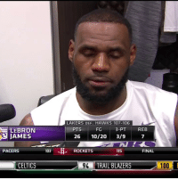 """I'm garbage. I suck from the free throw line right now."" - LeBron   (Via @NBATV)    https://t.co/TVijS4iUUq: LAKERS DEF. HAWKS 107-106  FG  26 10/20 3/9  PTS  3-PT  REB  LEBRON  JAMES  7  PACERS  103  ROCKETS  115  FINAL  CELTICS  9TRAIL BLAZERS  100 ""I'm garbage. I suck from the free throw line right now."" - LeBron   (Via @NBATV)    https://t.co/TVijS4iUUq"