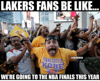 Basketball, Finals, and Nba: LAKERS FANS BE LIKE  @NBAMEMES  KOBE  WERE GOING TO THE NBA FINALS THIS YEAR Lakers fans after beating the Warriors 😂 nbamemes warriors nba lakers