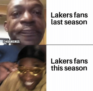 Lakers fans can't wait for the playoffs 😂 https://t.co/txboORHy3h: Lakers fans  last season  @NBAMEMES  Lakers fans  this season Lakers fans can't wait for the playoffs 😂 https://t.co/txboORHy3h