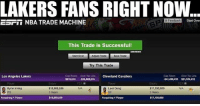 LakeShow on the ESPN Trade Machine like... Lakers KyrieIrving kyrie irving LosAngeles LA Cleveland Cavaliers LakeShow: LAKERS FANS RIGHT NOW  ESFII NBA TRADE MACHINE  H Feedback  Start Over  0  This Trade is Successful!  Start Over  Adjust Trade  Save Trade  Try This Trade  Cop Room Over Tax Line  315,615 520,988,61  Cleveland Cavaliers  Cap Room  $41,498433  Over Tax Line  $21,325,433  Los Angeles Lakers  NIA  Kyrie Irving  PG  N/A  S 18,868,626  3 Years  Luol Deng  SF  S17,190,000  3 Years  Acquiring 1 Player  $18,368,626  Acquiaing 1 Player  $17,190,000 LakeShow on the ESPN Trade Machine like... Lakers KyrieIrving kyrie irving LosAngeles LA Cleveland Cavaliers LakeShow