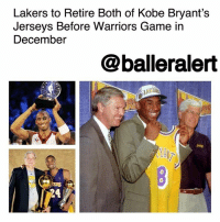"Kobe Bryant, Los Angeles Lakers, and Los-Angeles-Lakers: Lakers to Retire Both of Kobe Bryant's  Jerseys Before Warriors Game in  December  @balleralert  0  SERS  24 Lakers to Retire Both of Kobe Bryant's Jerseys Before Warriors Game in December – blogged by @MsJennyb ⠀⠀⠀⠀⠀⠀⠀ ⠀⠀⠀⠀⠀⠀⠀ KobeBryant's career and legacy with the Los Angeles Lakers will be remembered for years to come, as his jersey will join the greats in the rafters. ⠀⠀⠀⠀⠀⠀⠀ ⠀⠀⠀⠀⠀⠀⠀ According to TMZ, the Lakers are planning to retire Bryant's jersey before the Warriors game on December 18. Although the ceremony has yet to be announced, the team sent a letter to Lakers season ticket holders, suggesting them to ""hold on to their tickets for the game on Dec. 18"" for a ""special event."" ⠀⠀⠀⠀⠀⠀⠀ ⠀⠀⠀⠀⠀⠀⠀ But, with the retirement of Bryant's jersey, the organization had to decide which number would be hung, as the superstar wore 8 and 24 throughout his career with the L.A. team. Back in 2016, Bryant provided the perfect response to the question, saying ""[Whichever number they choose] it's going to be pretty hard for someone else to wear the other one."" ⠀⠀⠀⠀⠀⠀⠀ ⠀⠀⠀⠀⠀⠀⠀ With that being said, the baller will officially become the first player to have two jerseys hanging in the rafters for the same team, highlighting Bryant's decorated, 20-year tenure with the team."