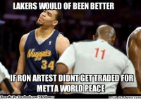 Be Like, Los Angeles Lakers, and Meme: LAKERS WOULD OF BEEN BETTER  FRON ARTESTDIDNTGET TRADED FOR  METTA WORLD PEACE  Brought Bye Face  book Javale McGee Be Like.