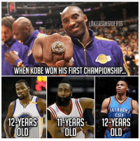 Some of our current best players were YOUNG when Kobe won his first championship. FactOfTheDay Your battery % is your chance of beating Kobe in a 1v1. Comment it below👇 (via @lakersinsider16): LAKERSINSIDER16  WHEN KOBE WON HIS FIRST CHAMPIONSHIP.  OKLAHOM  CITY  12-YEARSHYEARS 12 YEARS  OLD  OLD  OLD Some of our current best players were YOUNG when Kobe won his first championship. FactOfTheDay Your battery % is your chance of beating Kobe in a 1v1. Comment it below👇 (via @lakersinsider16)